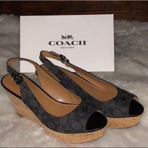 Coach Ferry Signature C Sling-Back Wedge Sandals